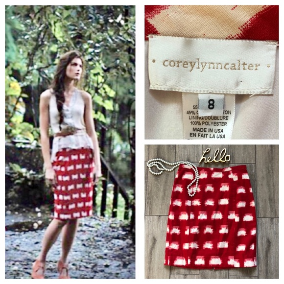 665ff5a37e Anthropologie Dresses & Skirts - Anthro Corey Lynn Calter Ackee Pencil Skirt  Red